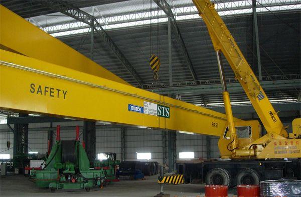 Installing One Units 25 Tonne x 34m Span Double Girder Electric Overhead Traveling Crane at Meru, Klang