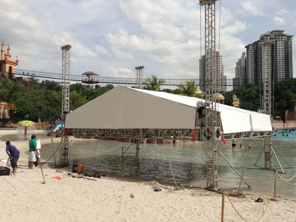 Synchronizing 4 units theater hoists raising stage roof